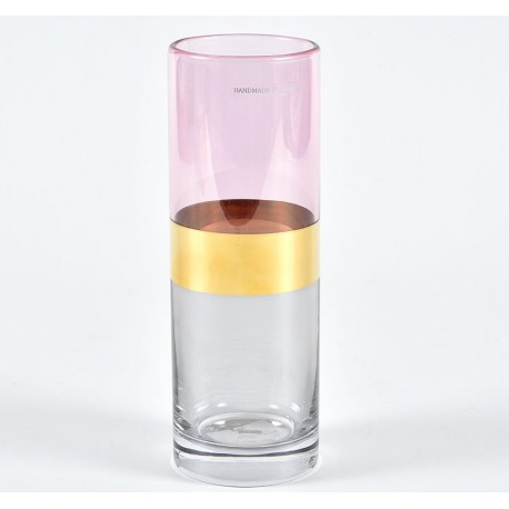 Szklany Wazon Belldeco Różowo - Złoty