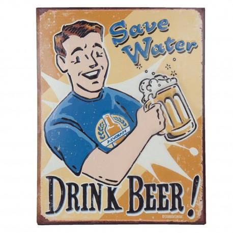 metalowy obrazek z mężyczną trzymającym kufel piwa
