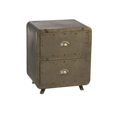 Szafka nocna z dwiema szufladami to mebel doskonale wpisujący się w industrialne trendy, idealny do współczesnej sypialni.
