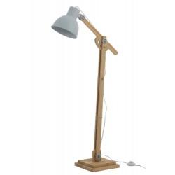 Lampa Podłogowa Skandynawska Drewniana Jasnobłękitna