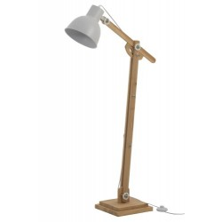 Lampa Podłogowa Skandynawska Drewniana Biała
