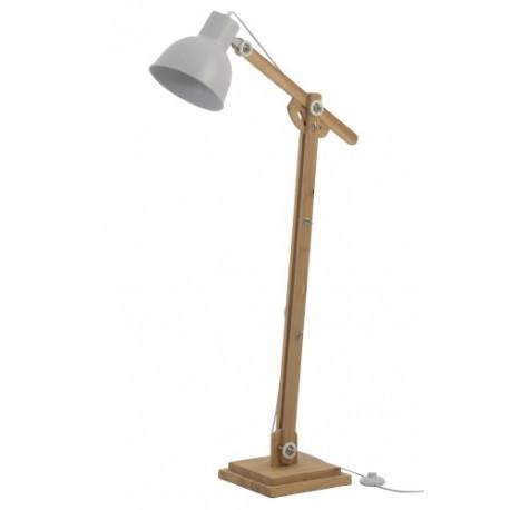 SKandynawska lampa podłogowa jest wykonana z metalu i drewna w kolorze brązu.