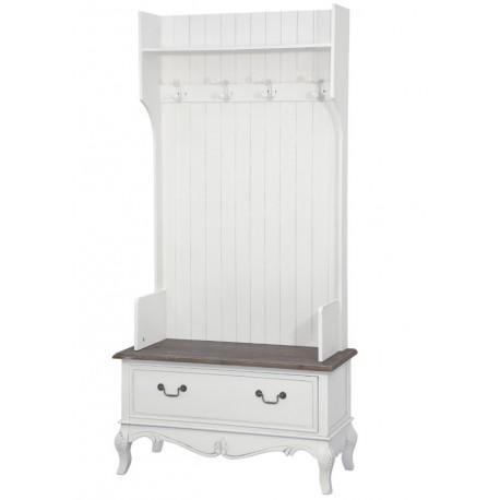 Biala garderoba z siedziskiem, wieszakami i szufladami - wszystko czego potrzebujesz w swoim przedpokoju.