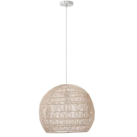 Rattanowa lampa sufitowa to przebój tego sezonu! Lampa ma kształt zbliżony do koła.