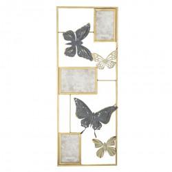 Dekoracja Ścienna Metalowa z Ramkami i Motylami