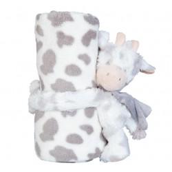 Kocyk Dziecięcy Pluszowy z Maskotką Krowa