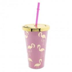 Plastikowy Kubek Retro ze Słomką Flamingi A