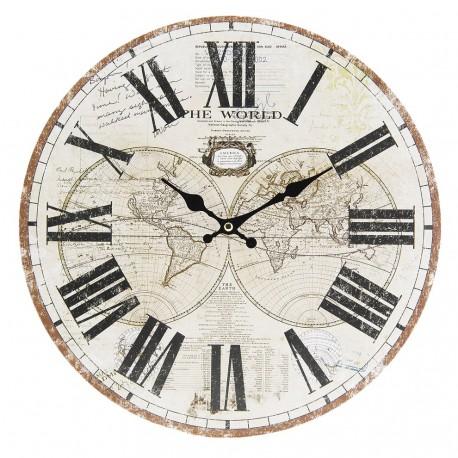 Zegar w stylu retro z kulą ziemską wyglądającą jakby została naszkicowana ołówkiem.