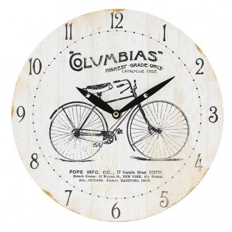 Okrągly zegar w stylu retro z czarnym rowerem i czarnymi napisami.
