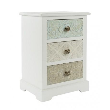 Niska szafka nocna z trzema szufladami różniącymi się od siebie kolorem. Wszystkie posiadają ozdobne wzorki.