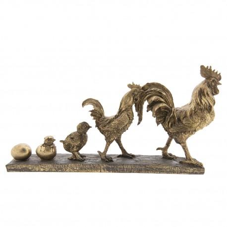 Ozdobna figurka z maszerującymi dumnie kurami w kolorze złotym. Ustaw ją na półce.