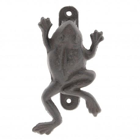 Żeliwny wieszak ścienny o niewielkich rozmiarach w kształcie pełzającej żaby.