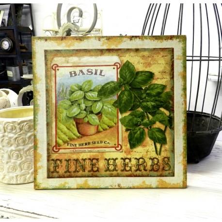 Kwadratowy kuchenny obrazek z ziołami