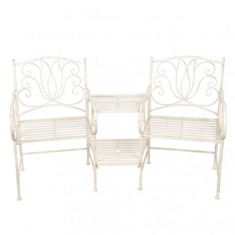 Metalowe Krzesła ze Stolikiem w Stylu Prowansalskim