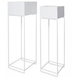 Metalowe Kwietniki Loft Białe 2szt.