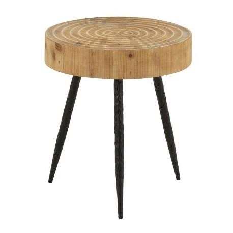 Bardzo solidny stolik kawowy w stylu skandynawskim z okrągłym blatem w kolorze brązowym.