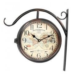 Dwustronny Zegar Dworcowy z Mapą