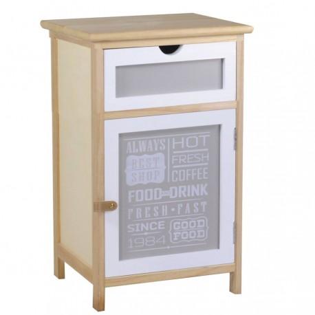 Brązowa, kompaktowa szafka w stylu retro z biało-szar szufladą i drzwiczkami, dodatkowo ozdobiona napisami.