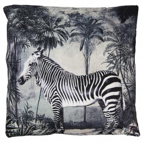 Modna poduszka dekoracyjna w biało-czarnym kolorze przedstawia zebrę na tle tropikalnego lasu.