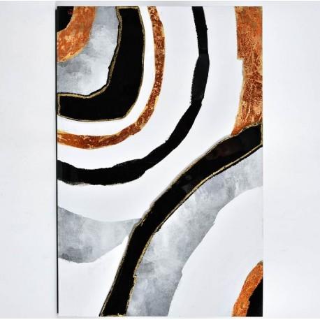 Dekor w nowoczesnym stylu w modnych kolorach: białym, szarym i czarnym, wzbogacony pomarańczowym akcentem.
