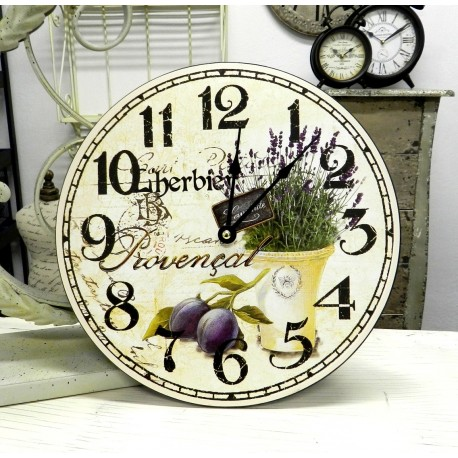 Prowansalski zegar ścienny z lawendą i śliwką
