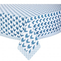 Bawełniany Obrus Niebieskie Kury