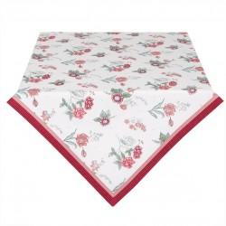 Bawełniany Obrus Czerwone Kwiaty Kwadratowy A