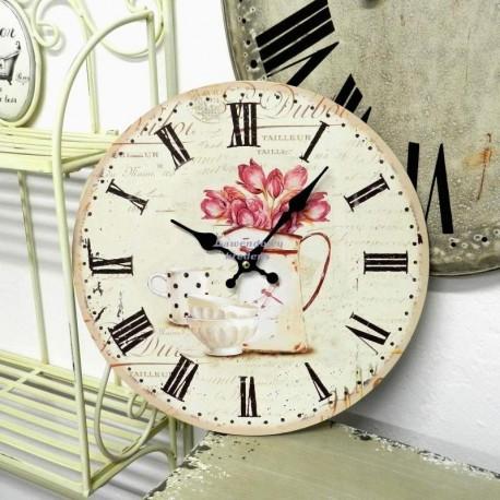 Zegar w Stylu Prowansalskim Tulipany