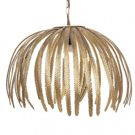 Złota lampa wygląda jakby została wykonana z liści palmy.