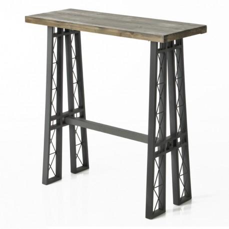 Charakterystyczna konsola z drewnianym blatem i nogami, które przypominają konstrukcją wieżę Eiffela.