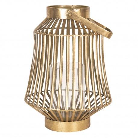 Nieiwelki lampion w kolorze połyskującego złota z szklanym naczyniem do umieszczenia wewnątrz świeczki.