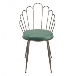 Krzesło w Stylu Skandynawskim z Zielonym Siedziskiem