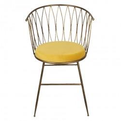Krzesło w Stylu Skandynawskim z Żółtym Siedziskiem