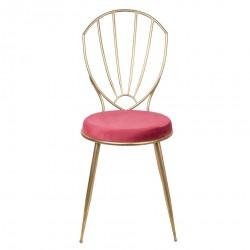 Krzesło w Stylu Skandynawskim z Czerwonym Siedziskiem