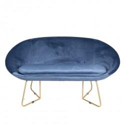 Granatowa Sofa w Stylu Skandynawskim Na Złotych Nogach
