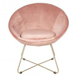 Krzesło w Stylu Skandynawskim Różowe na Złotych Nóżkach