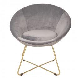 Krzesło w Stylu Skandynawskim Szare na Złotych Nóżkach