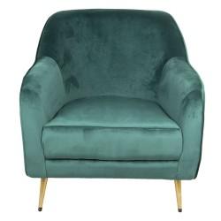 Fotel w Stylu Skandynawskim Zielony na Złotych Nóżkach