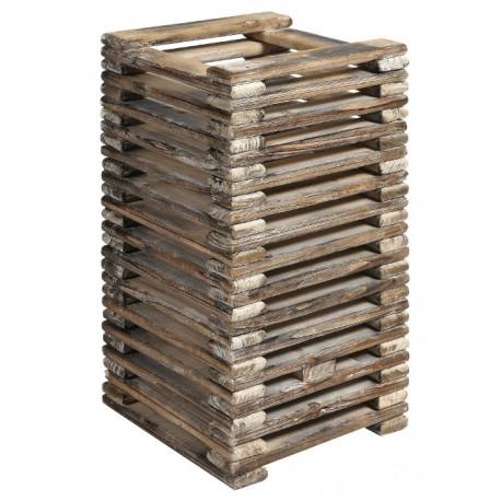 Drewniana lampa w formie bryły