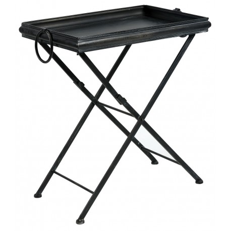 Czarny metalowy stolik ze zdejmowanym blatem