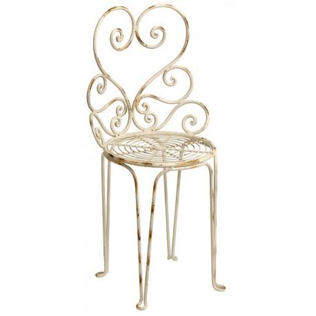 Metalowe krzesło o finezyjnym oparciu