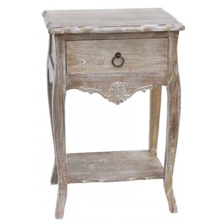 Bielony stolik nocny z półką i szufladką to genialny mebel do utawienia po obus tronach małżeńskiego łoża.