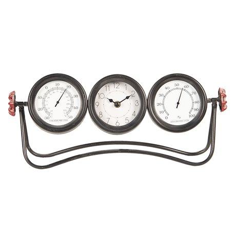 Potrójny zegar w stylu industrialnym na metalowej podstawie ma szary kolor i wyglada zadziwiająco!