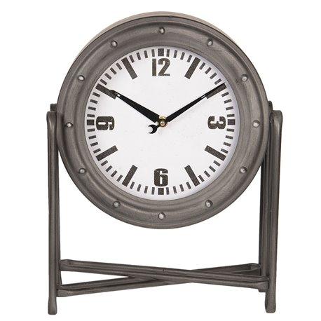 Industrialny zegar stołowy w szarym kolorze na stabilnej nóżce z metalowego prętu.