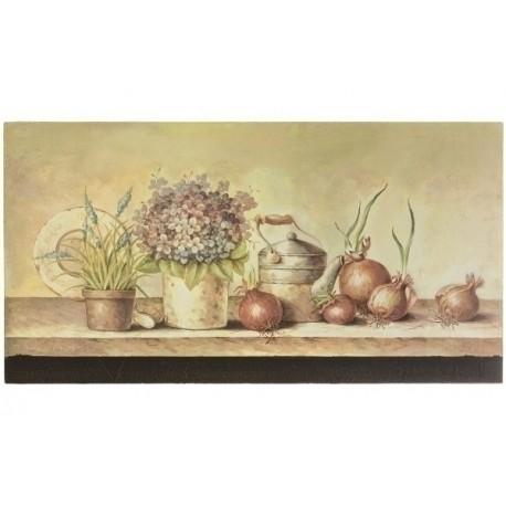 Stylowy obraz prowansalski przedstawia martwą naturę i jest malowany pastelowymi, ciemnymi kolorami.