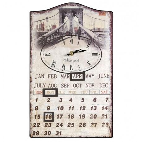 Retro Kalendarz z Zegarem Belldeco