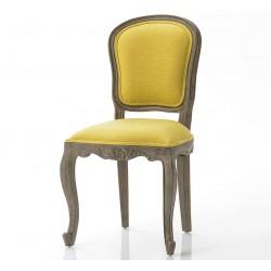 Krzesło w Stylu Prowansalskim Tapicerowany Żółte B