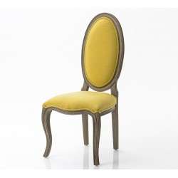 Krzesło w Stylu Prowansalskim Tapicerowany Żółte A