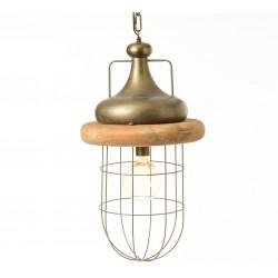 Lampa w Stylu Industrialnym Metal Drewno A