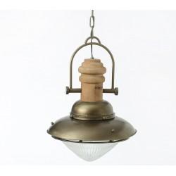 Lampa w Stylu Industrialnym Metal Drewno B